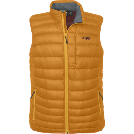 When you need additional warmth but can't afford to restrict movement in your arms, reach for the Outdoor Research Men's Transcendent Vest. Since its stuffed with lofty, compressible 650-fill goose down, this vest brings the heat and can be stuffed into its own front pocket so you'll always have enough space to toss it in your pack. - $97.97