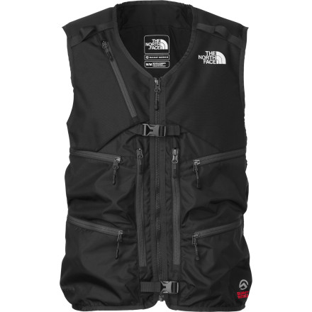 Ski Slide your shovel, probe, and avalanche safety tools into Men's Powder Guide Vest and leave your bulky backpack behind in the truck. The engineers at The North Face whipped up this burly vest after trading designs ideas with winter professionals and pro athletes who wanted a lighter, faster, and more balanced way to carry skis and gear for short missions just beyond the ropes. Need another reason to snatch up this Summit Series vest' It'll turn your friends green with envy. - $174.27