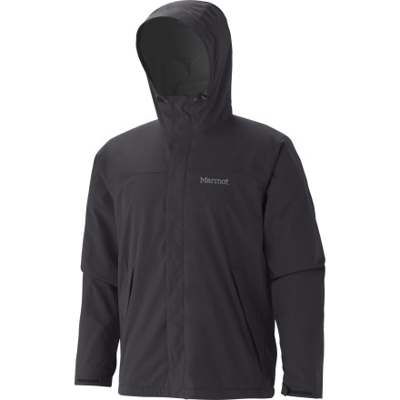 Camp and Hike Rather than holing up in your tent when the spring rains come, slide on your Marmot Storm Shield Jacket and see what the woods looks like when wet. This lightweight rain jacket features waterproof breathable Precip fabric to block out stormy weather and allow evaporating sweat to pass through to the outside world. - $124.95