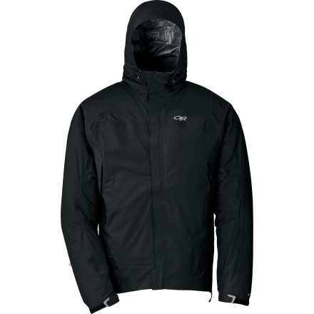 If you find yourself in a stormy situation, just pull the hood out of the Outdoor Research Revel Jacket's collar compartment, adjust the drawcord to seal up the hem, and keep moving towards your destination. - $118.26