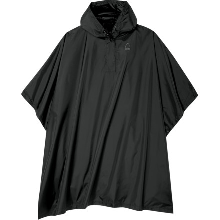 The Storm Poncho from Sierra Designs keeps you covered when the rains come. Pull this poncho out of its zippered storage bag, throw it over you and your pack, and keep the rain off. The adjustable hood lets you get a perfect fit even if you are wearing a helmet, and the fully taped seams, snap-up sides, and DWR coating encourage the rain drops to slide right off. Use the corner grommets to stake your poncho down for a lightweight shelter when you stop for a lunch break. - $39.95
