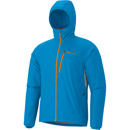 The Marmot Men's Ether Driclime Jacket takes care of you during spring squalls with two layers of moisture protection. The inner layer of Driclime is soft to the touch and specializes in pulling moisture away from your skin to eliminate sweaty clamminess. The outer layer is a breathable nylon that is also wind- and water-resistant to keep Mother Nature out. Mesh underarm vents help your body regulate temperature, and the attached roll-up hood gives you added protection. - $114.95