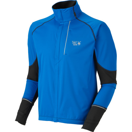 Fitness Don't get soaked next time an afternoon training run finds you in the rain. The Mountain Hardwear Effusion Power Jacket boasts the protective combo of a Dry.Q Active and DWR-coated shell, so you can shrug off even the nastiest surprise rainfall. Mountain Hardwear integrated knit panels to allow you full freedom of motion, because a quality rain shell shouldn't feel like cardboard. - $74.97