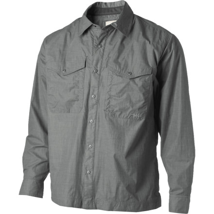 Camp and Hike If you commute on dirt roads, steer a real horse to town, or ride rivers instead of subways, then you could probably use the Mountain Khakis Men's Granite Creek Windshirt. Windproof nylon and a DWR coating ensure your favorite Mountain Khakis shirt stays dry and you stay comfortable when the western skies churn up a summer squall. The Granite Creek's mesh lining helps draw moisture away from your body because it's obvious that a little wind and water isn't going to stop you from casting over your favorite spot, throwing hay out for the herd, or hiking into the deep wilderness of the Grand Tetons. - $119.95