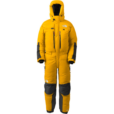 The North Face Men's Himalayan Snow Suit provides you with a warm and functional vehicle to help propel you to the top of the world's highest, coldest, and most remote summits. This full-body, 800-fill down suit features a water-resistant ripstop nylon shell backed by Gore Windstopper fabric for stout weather protection in alpine conditions. Laminated and taped baffles keep the insulation dry and in place, and the fully adjustable hood keeps the frostbite off your face. Adjustable internal suspenders keep the suit in place during technical sections, and The North Face added an interior radio pocket and two water bottle pockets to keep your water in liquid form. Abrasion reinforcements on the arms and seat hold up to rocky outcroppings, and a forearm D-ring holds your gloves when you need to adjust your knots. - $998.95