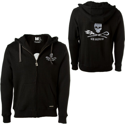 The Hemp Hoodlamb Sea Shepherd Full-Zip Hooded Sweatshirt does more than keep you toasty while bar hopping\\227that\s because a portion of the proceeds go directly to the Sea Shepherd Conservation Society. This group, made popular by the TV show \\221Whale Wars\, takes an aggressive stance against all marine cruelty, and when you purchase this hemp and organic cotton fleece hoody, a $6 donation is made to help end the murder and habitat destruction happening on the open seas. The pirate-like Sea Shepherd logo helps incite much-need conversations with whoever you meet. - $86.36