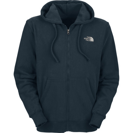 You're wearing your favorite plaid shorts but it's a bit chilly outside. No worries, The North Face Men's Logo Full-Zip Hooded Sweatshirt is one solid color, and only has a small logo adorning the front. This means you can wear a comfy, soft cotton / poly hoody with your colorfully patterned pantalones--without making a disastrous fashion statement. Front pockets and a hood on The North Face sweatshirt help fend off cold breezes. - $38.47