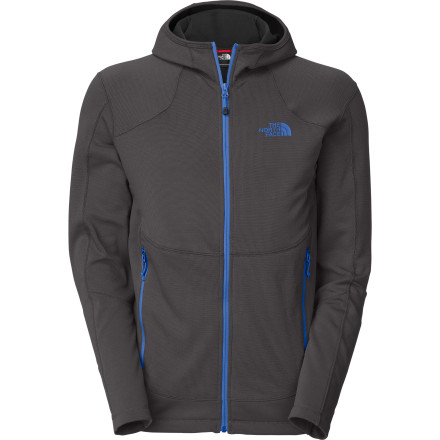 Camp and Hike Wear The North Face Arc Full-Zip Hoodie when the temperature drops, or bring it on your weekend camping trip as an additional layer for chilly nights. This hoodie offers a comfortable fabric blend of polyester and elastane fleece for fit and flex when necessary. - $64.32