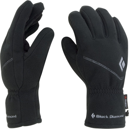 Ski Designed to function as a windproof fleece glove on its own or as a liner under a hardshell for more technical applications, the Black Diamond WindWeight Glove comes in handy in a variety of alpine situations. The windproof barrier keeps your hands warm while you tour up a ridge, and the snug fit and silicon-dotted finger tips give you the dexterity to peel your skins without taking your gloves off. The Pittards suede palm patch stands up to ski edges and ice-axe grips. Slide on one of Black Diamonds hardshell mittens or gloves for when the storm rolls in for a bomber waterproof/breathable system. - $42.95