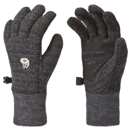 Camp and Hike Big, wet flakes don't rain on your parade while camping, because you have the Mountain Hardwear Women's Heavyweight Wool Stretch Glove to warm your fingers like the snuffed-out fire was supposed to do. A clever wool, polyester, nylon, and elastane blend means that wetness doesn't thwart its insulating power and that it stretches and fits closely to eliminate cold, dead air. - $22.72
