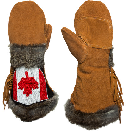 The Astis Cartier Mitten honors all that is Canadian with hand-stitched maple-leaf beadwork. Silicone-injected suede leather keeps hands protected from the elements while Polartec high-loft insulation warms them to the marrow. Real fur trim adds warmth, and fringe brings that wild Rocky-Mountain feel. - $146.21