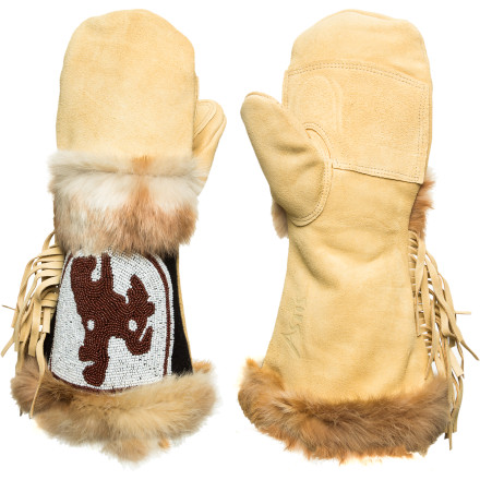 Every committed skier feels like an adventurer slashing through pow, and the Astis Colter Mitten beautifully reflects that spirit with its hand-beaded and fringed Wild West cowboy style and fur trim. Genuine suede leather tanned in the USA and injected with silicon for water-repellency and Polartec Thermal Pro High Loft insulation to keep your fearless fingers toasty-warm make this mitt as functional as it is finely crafted art. - $194.95