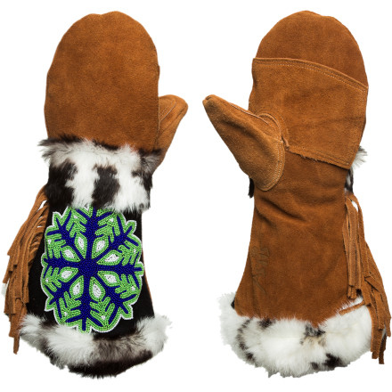 Celebrate the legacy of Reinhold Messner, mountaineer extraordinaire, and your own love of the snowy outdoors with the Astis Messner Mitten. With beautifully hand-sewn beadwork honoring your beloved flakes flanked by cozy, real-fur trim, there are few better ways to express your undying appreciation. Suede leather injected with silicone protects against the elements, and Polartec high-loft insulation keeps your hands cozy-warm, so you can play all day in that stuff you love. - $194.95