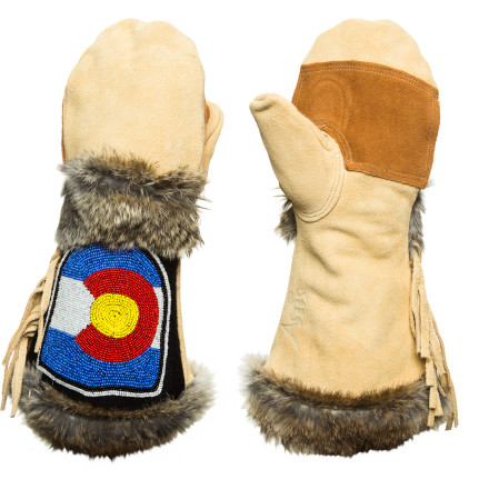 The Rocky Mountain state of Colorado is honored on the Astis Pike Mitten, adorned in hand-beaded art and real fur trim. Suede leather fringe adds to its cowboy style, and it's injected with silicone for protection against the elements. Lined with Polartec high-loft fleece the Pike not only looks hardcore-hot but keeps those hands toasty-warm. Yeehaw! - $194.95