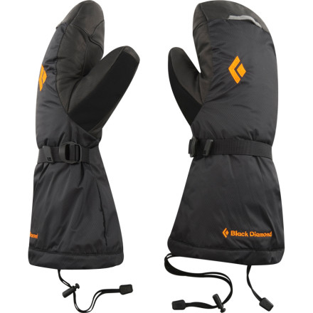 The Black Diamond Absolute Mitten protects your hands from the harshest conditions on expeditions the world over. The Absoute features a removable liner with a Gore-Tex waterproof breathable insert and two kinds of synthetic insulation to ward off ungodly cold and wet conditions. The four-way stretch shell rocks a goat leather palm, KEVLAR stitching and a reinforced thumb for incredible durability when handling fixed lines and rocky summit ridges. - $199.95
