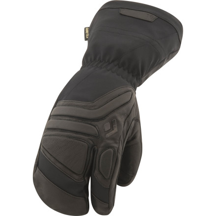 Black Diamond made the insulated Guide Lobster Mitten for those who demand ultimate warmth, superior dexterity, and nigh bulletproof durability from their winter handwear. Outfitted with a unique shape, this mitten separates your trigger finger from the rest of your fingers to make it easier to manipulate your gear. A combination of leather reinforcement, a GoreTex waterproof breathable membrane, and Primaloft insulation all work together to protect your hand from the elements no matter how deep you find yourself amidst the storm. - $159.95