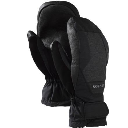 Ski For riders who live in frigid climates or get cold easily, Burton's Gore-Tex Leather Mitt combines the guaranteed water-blocking power of Gore-Tex with the warmth boost that makes mittens so great. Thermacore insulation and a brushed microfiber lining offer mid-winter warmth, while the Gnar Guard leather palm resists damage from board edges, tree branches, or encroaching ski poles. - $44.94