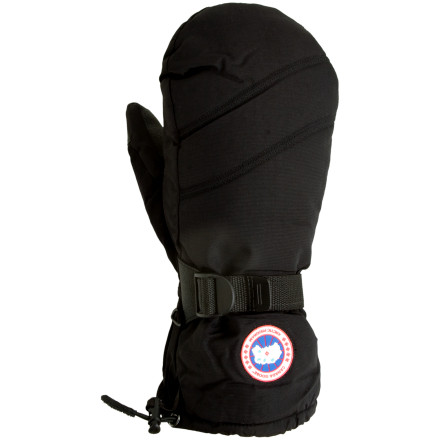 Whether youre hitting the slopes on a frigid day or postholing your way toward a frozen summit, the Canada Goose Down Mittens protects your hands from the harsh, wet cold. A Hipora waterproof breathable insert backs up the tough nylon shell, and high-quality goose down keeps winters icy grip at bay. The gauntlet cinch cord and webbing cinch strap seal out cold air and snow while the grippy palm helps you hang on to your poles or axe. - $124.95