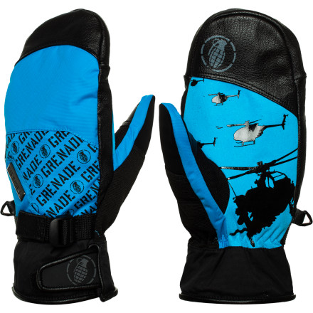 Snowboard From park jumps to backcountry booters, command the skies wearing the Grenade Huey Snowboard Mitten. The Lorica suede palm helps you hold those tail grabs all the way through your spin and leather fingertip covers add durability for the occasional knuckle-dragging landing. It also features Primaloft insulation so your hands are never too cold for one more run. - $41.97