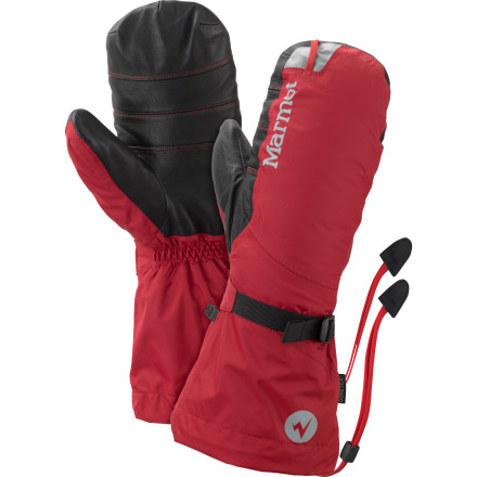 The Marmot 8000 Meter Mitten. Hopefully the name gives you some indication of how far you can push into nasty weather while wearing this mountaineering-style mitt. Multiple varieties of Gore-Tex fabric and membrane technology protect your hand from wet conditions, wind, and sweat, while high-loft, 700-fill goose down insulation fends off thermometer-crushing cold. Slide your hand inside this gauntlet-style mitt, wrap the leather-reinforced palm around your ice tool, and charge up a tricky alpine route with confidence that your digits are safe and sound. - $274.95