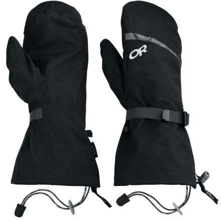 Keep your hands dry in the sloppiest conditions you can imagine with the Outdoor Research Mt Baker Shell Mitten. A ripstop nylon shell with Gore-Tex membrane virtually guarantees that your hands won't be wet at the end of the day, and pre-curved fingers ensure a great fit right out of the box. - $98.95