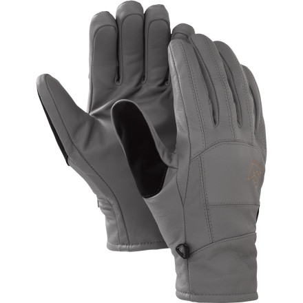 Snowboard A Burton team favorite for long backcountry hikes, the low-profile AK Leather Tech Glove offers great grip, dexterity, and durability. The brushed fleece lining offers plenty of warmth, and the new extended cuff length keeps snow from creeping up your sleeves. - $74.90