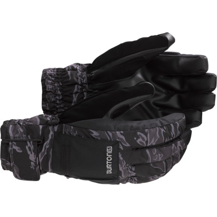 Snowboard The Burton Baker Under Glove doesn't mess around when it comes to keeping hands warm. DryRide Ultrashell 2-layer fabric and DryRide Insane Membrane 2.0 deliver serious waterproofing and moisture-wicking to keep things dry, and the Thermacore insulation and removable DryRide Ultrawick liner offer plenty of warmth. And if that's not enough, a pocket on the back of the hand fits disposable hand warmers in the event of spit-freezes-before-it-hits-the-ground temperatures. - $38.94