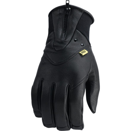Snowboard The look may be inspired by workwear, but the feel of the Pow Aurora Glove is pure premium. With a rugged but pliable deerskin leather shell, low-bulk Thinsulate insulation, and anti-pill microfleece lining, the Aurora packs plenty of protection into a low-profile glove. - $41.97