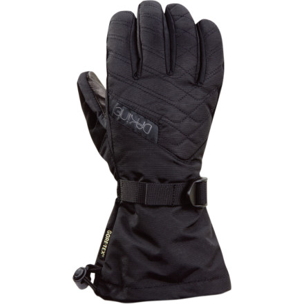 Snowboard Ride out the storm comfortably in the DAKINE Catalina Glove for Women. A waterproof breathable Gore-Tex insert works with the Weathershield outer coating to keep the elements at bay, while Thermoloft insulation keeps your fingers warm. An internal heat pack pocket holds your hand-warmer packet on sub-zero days. Precurved fingers and a grippy Durafuse leather palm make it easy to strap into your bindings or cinch the one-hand drawcord at the cuff. Face-friendly fabric on the thumb enables you to take discreet swipes at your drippy nose while on the chairlift. - $35.97