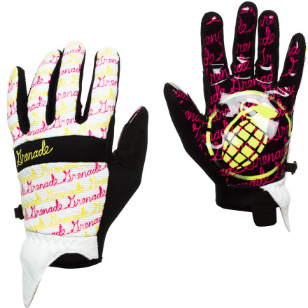 Snowboard Flip the script on 'em with the Grenade Script Women's Glove. The super grippy silicone palm helps you poke out your method grabs so you can show all the boys what's up when you're lapping the park in spring. - $27.97