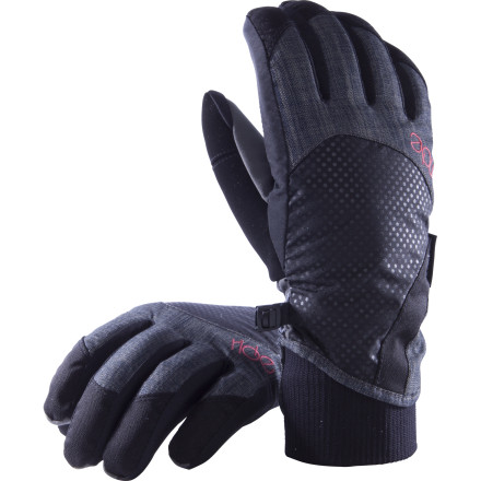 Snowboard The Ride Women's Goldies Glove covers your digits with a women's-specific fit, durable materials, and superior waterproofing that won't quit. The Goldies heats your paws with toasty 170g polyester fill so warm,  you won't believe they could have crammed it into such a low-profile glove. - $29.97
