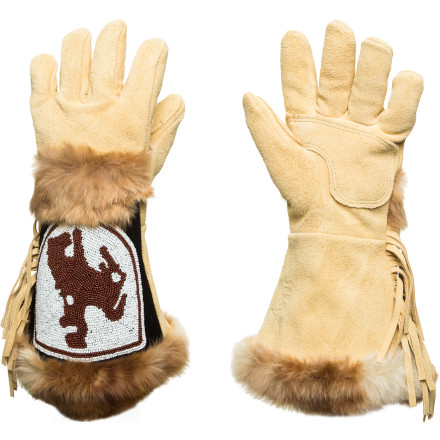Ski If you sport a handle bar mustache and count Wild Bill Hickok as a role model, the Astis Colter Glove was made for you. Bucking horse bead work, ample fringe, and fur trim provide the Colter with nostalgic style while the burly suede leather construction and Polartec Thermal Pro linings ensure uncompromising performance in harsh weather. - $134.97