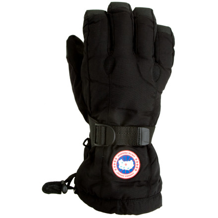 Ski Prepare your hands for the harsh, unforgiving conditions of winter with the Canada Goose Down Gloves. Thanks to a waterproof breathable Hipora insert and warm, high-quality goose down, your paws will be toasty and dry, even if the weather is quite the opposite. Canada Goose added a gauntlet draw cord and a webbing cinch strap to seal out snow and cold air, and the reinforced palm gives you a secure grip on your poles or ice axe. - $124.95