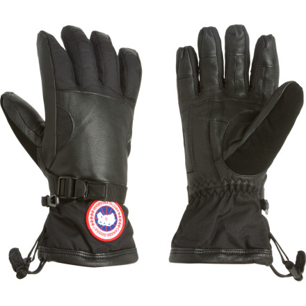 Ski Plow your snow-covered neighborhood, not because youre a good citizen, but because no one else can stay warm and work like you do wearing the Canada Goose Men's Utility Glove. Insulated by goose down and lined with fleece, these work gloves are incredibly warm as you unplug your engine block heater and start your truck in the dead cold air. The entire outer shell features strong goatskin leather and Cordura for attaching tow cables to cars stuck in the snow bank, and the waterproof breathable insert comes in handy when you plunge your hand into slushy snow to find a spot to attach the tow cable. Two lines of defense in the wrist seal out the coldest morning air so you can get the job done. - $149.95