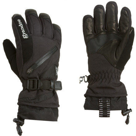 Ski Challenge the tundra with the glove of the same name. The Grandoe Tundra Glove repels the icy claws of winter with a burly shell comprised of Grandoe's proprietary GX4 and MicroVortex fabrics. On the underside, a WaterBlock sheepskin palm and Digital Power Grip material ensure dexterity even in harsh environments. Cinch down the wrist and head out into the great white unknown, confident that the Tundra has you covered; well, your hands, at least. - $50.97
