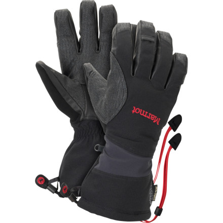 Ski Like mountain goats, the Marmot Alpinist Glove thrives above city-level in the rocky places of the earth. This 3-in-1 Marmot glove uses a waterproof MemBrain 2L shell reinforced with Goatskin to repel the elements, and a durable Gore-Tex insert glove that completely blocks wind and water. Flex in the palm allows you the movement needed to get a firm grip on your ski pole or ice axe, and a nose-wipe clears away bogies at twelve oclock. - $62.98
