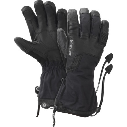 Ski Marmot designed the Hut Tour Glove with not just one but two layers of waterproof breathable technology for maximum protection in extreme conditions. An innovative removable liner glove features high-loft fleece and Thermal-R insulation for warmth as well as a Gore-Tex XCR membrane which, since it's close to your skin, whisks moisture that your body generates away and provides extra protection in wet conditions. The tough outer shell incorporates Marmot's MemBrain waterproof breathable technology that provides extra protection against stormy weather. - $129.47