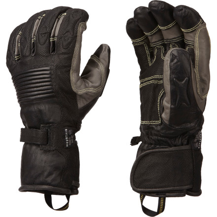Ski When  you make your living outside in the snow, you need a tough glove to keep your hand safe and warm. The Mountain Hardwear Bazuka Glove is as tough as it sounds, with water-resistant goatskin leather construction, an OutDry waterproof breathable laminate, and a close-fitting gauntlet designed to be worn under your jacket sleeve. - $126.72