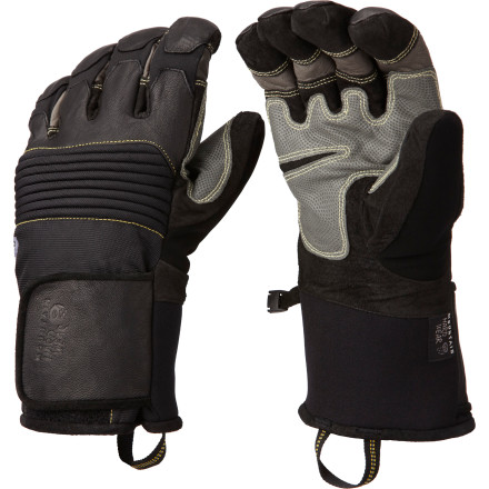 Ski The Mountain Hardwear Dragon's Claw Glove is warm enough to stand up to a full day of play and tough enough for a full day of work. The goatskin leather palm and fingers are stitched with Kevlar for added durability, and the Thermic Micro synthetic insulation stays warm even if it gets wet. - $100.72