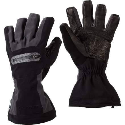 Ski For all day warmth and protection when you head to the resort, pull on a pair of Scott SMS Gloves. The seamless 3-layer Gore-Tex Softshell provides an impenetrable barrier against wind and water so your hands stay dry while Hyperloft and Thinsulate insulation keep you warm from first chair to last. Cinch the mid-height gauntlets on your wrists, grip your poles with the Pittards leather palms, point your tips downhill, and let the fun commence. - $71.97