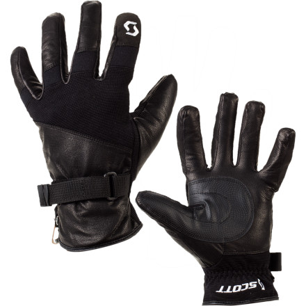 Snowboard Spring park sessions and slushy groomers call for the Scott Spring Glove. Made from four-way stretch goatskin, the Spring Glove provides lightweight warmth and supple dexterity for warm days on the slopes. The brushed tricot lining provides some extra warmth and is soft against the skin while the adjustable wrist strap seals out the snow. - $32.47