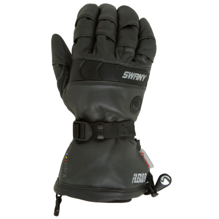 Snowboard The Swany Mens Bad Boy Glove gives you the versatility to hit the backcountry powder stashes in the morning, and then tear it up in the park and pipe all afternoon. This waterproof leather glove features Flexor construction, which uses flexing finger joints to give you a solid fit and full dexterity. Swany also included molded knuckles to protect you from nasty yard sales. The all-leather shell features a Dryfinger II insert to keep you dry and comfortable, and the Tri-plex insulation keeps digits toasty on frigid days. The webbing cinch strap and Uni-pull cuff keep powder shots at bay. - $80.37