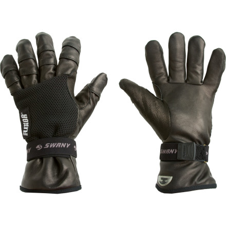 Ski The sleek leather of the Swany Pro II Ski Gloves gives you a killer look that is great for a day on the hill or taking to a murder scene. Plus, the technical fabrics keep your hands warm and dry so your hands won't end up soaked by snow (or blood). - $67.95