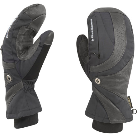 Ski Uncomfortable hands are the quickest way to squash a day on the hill, and the Black Diamond Womens Fever Mitten keeps the wet, cold conditions at bay thanks to its Gore-Tex waterproof breathable insert and PrimaLoft One insulation. Bd used a combination of stretch-woven nylon and goat leather for a blend of durability and dexterity. The womens-specific fit provides a soft, unrestrictive feel, while an integrated zip pocket stores a warmer pack on super-cold days. - $34.98