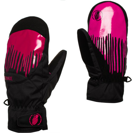 Snowboard Your nose may be dripping, but at least your hands are dry and toasty thanks to the Grenade Dripper Women's Snowboard Mitten. PrimaLoft insulation adds warmth without tons of bulk so you can still use your hands, and the hook-and-loop wrist closure prevents snow from getting in your gloves when you take a tumble in the pow. - $35.97