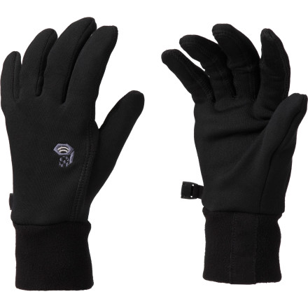 Ski Whether you need to take a phone call, check your position on the GPS, or take a photo of the stunning scenery, there's no need to shed your gloves when you're wearing the Mountain Hardwear Women's Stimulus Stretch Glove. Made from comfy, stretchy Thermostretch fleece, this glove features a rubberized palm coating that functions with your electronic devices. Wear them alone on the skate track or layer them under your mittens on the ski slopes. - $44.95