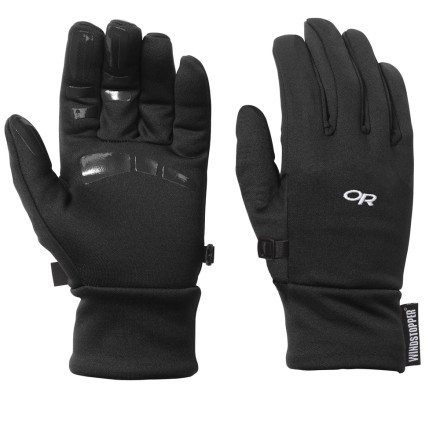 Fitness The Outdoor Research Men's Backstop Glove has a WindStopper lining on the back of the hand so cold winter winds won't threaten the health of your precious little digits. Slide it on alone when you head out for a fall trail run or bike ride, or use it as a liner inside a heavier glove. Silicone printing on the palm and fingers gives you some added grip when you're holding onto your handlebars or trying to tie your shoes. - $36.95