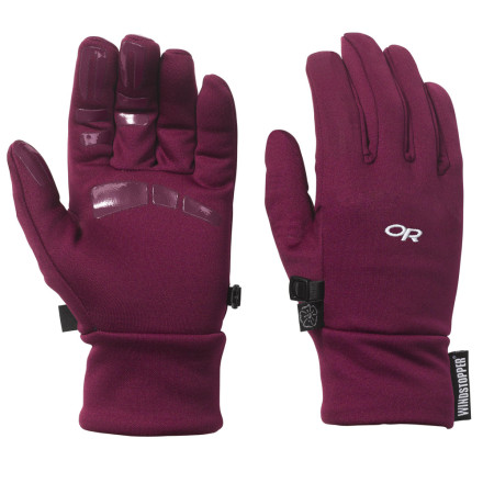 Fitness The WindStopper lining on the back of the Outdoor Research Women's Backstop Glove keeps your hands protected from the heat-robbing affect of cold winter wind. Pull on this glove alone when you need some light hand protection for a bike ride or trail run, or use it as a liner inside a set of heavier winter gloves. Silicone printing on the palm and fingers lends added grip when you're holding onto your handlebar grips or tying your shoes in bitterly cold weather. - $22.17