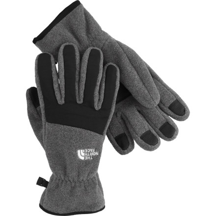 Fitness Whether you're running errands on a frigid morning or breaking a trail through the woods in your snowshoes, The North Face Denali Glove provides the warmth of 300-weight fleece when you need it the most. Wear the gloves alone for casual use or high-energy adventures; nylon taslan over the knuckles and fingers to add a bit of wind resistance and protect against abrasion, while PU patches on the palms ensure a firm grip and elastic at the wrist seals out drafts. Or you can layer shells over these thick fleece gloves to ensure you don't worry about ending a day on the slopes with white tips. - $17.97