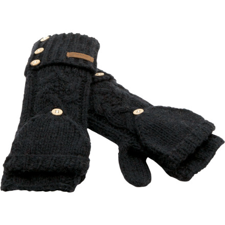 Lengthen the cuffs of the silky smooth Coal Women's Considered Lena Armwarmer at the touch of a wood-grain button. Richly detailed knit wool makes this convertible mitten and arm-wear combo ideal for chilly fall afternoons or bitter-cold winter mornings. - $23.97